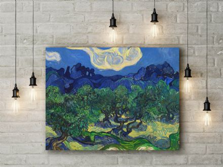 Vincent van Gogh: Olive Trees in a Mountainous Landscape. Fine Art Canvas.